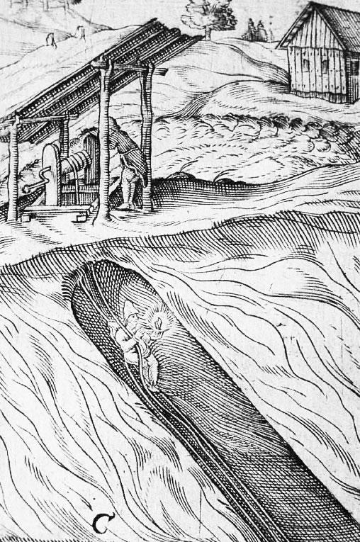 Befahrung eines Schachts. Darstellung zeigt die Gegebenheiten ähnlich der des St.-Georg-Schachtes
