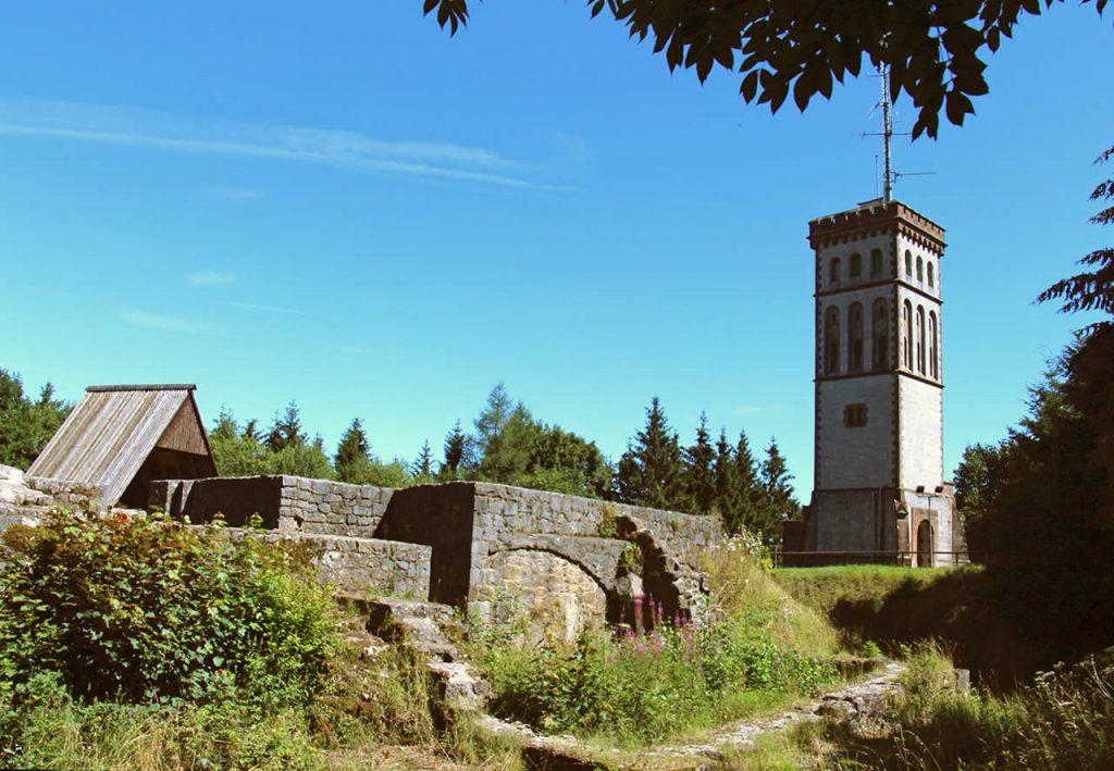 Blick von Burgruine auf Georg Viktor Turm