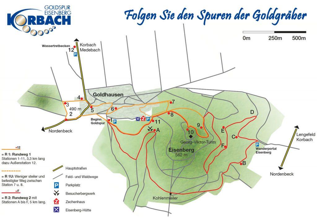 Karte der Goldspur Eisenberg
