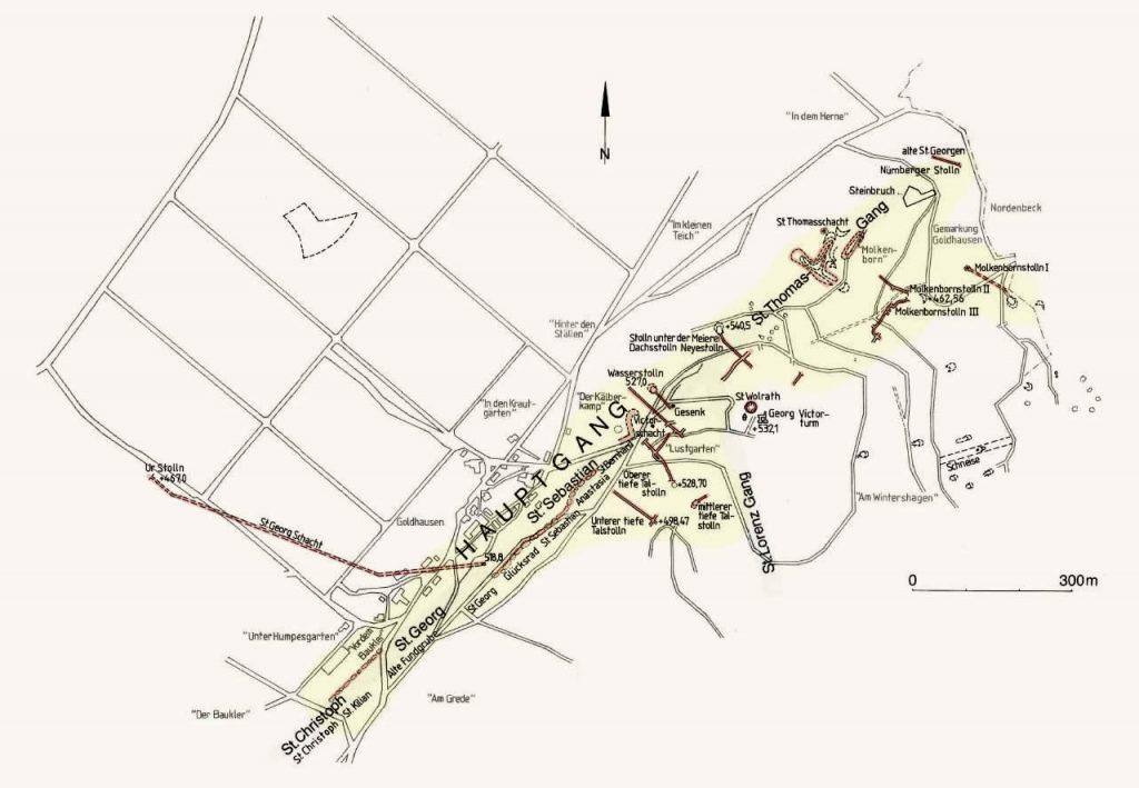 Karte Stollen im Eisenberg